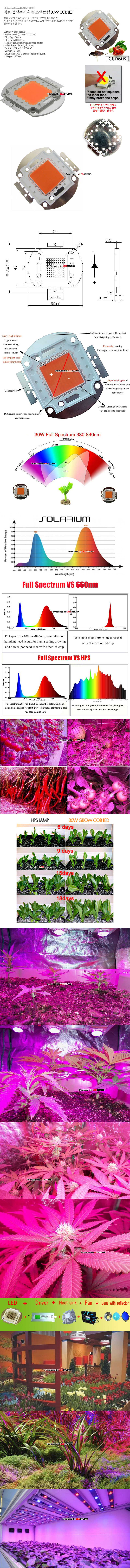 베하.식물 성장촉진용 풀 스펙트럼 30W COB LED (1.05A/2700lm/30~34v)