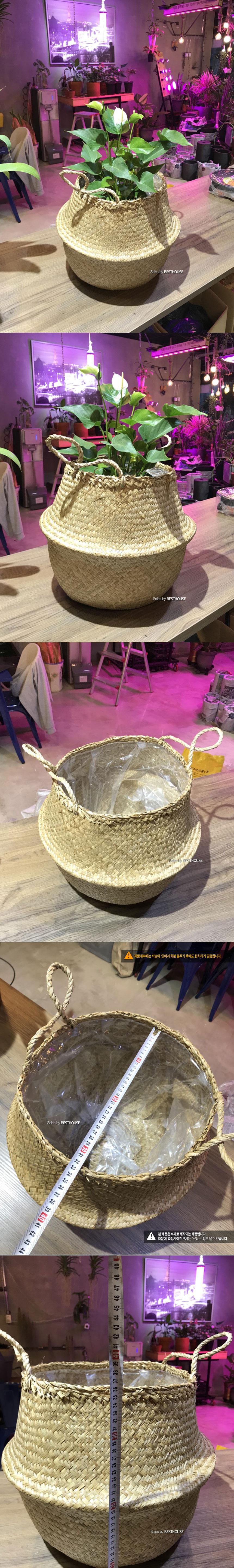 베하.화분바구니-왕골 화분 커버 (대형) 32x36cm